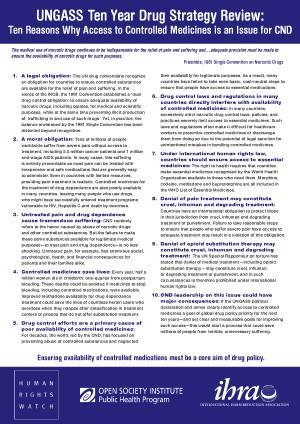 Ten Reasons Why Access to Controlled Medicines is an Issue for CND